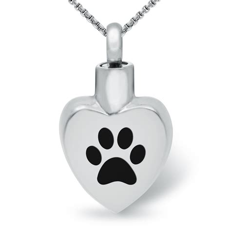paw print pet ashes memorial locket necklace stainless
