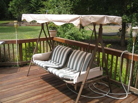 garden treasures 3 person swing porch swing with cushions striped porch swing cushions