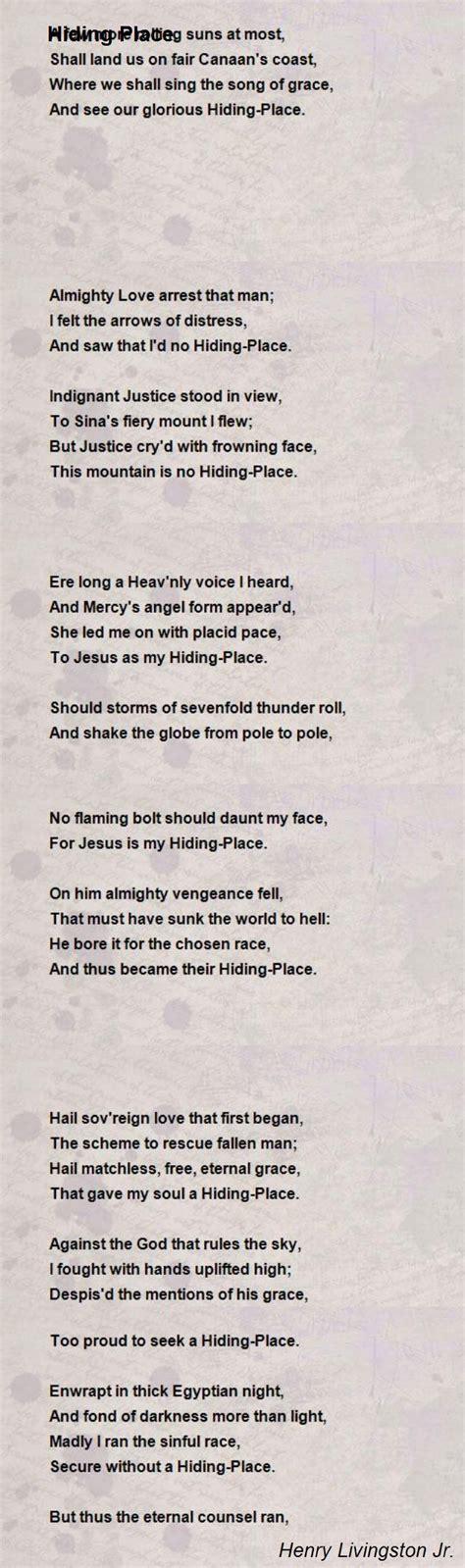 Poems About A Place Hiding Place Poem By Henry Livingston Jr Poem
