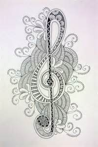 doodle drawing pdf zentangle treble clef black flower creative
