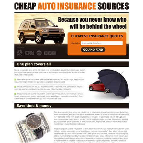 auto insurance landing page design  capture leads