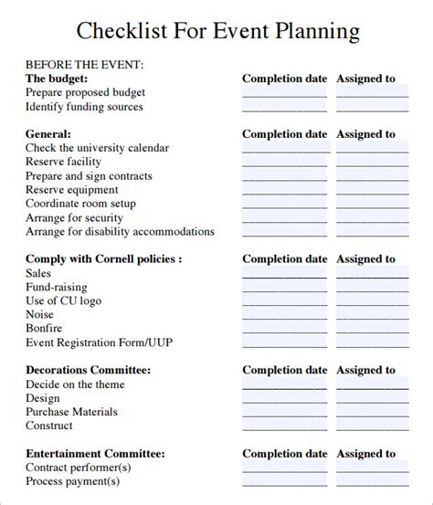 Meeting Planner Checklist Template event planning checklist 7 free documents in pdf