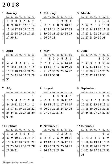 printable calendar 2018 large numbers bravo week number calendar 2018 2017 2018 calendar