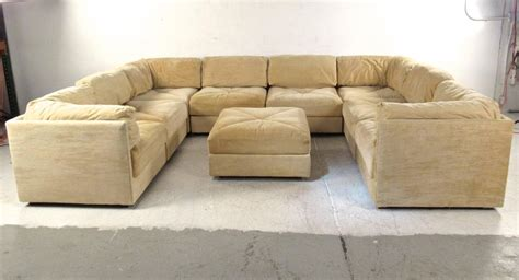 sectional sofa with large ottoman large selig sectional sofa with ottoman mid century