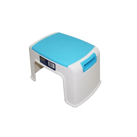 schemel plastik syneco plastic step stool small white blue bunnings