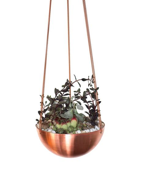 Copper Hanging Planter by Large Hanging Planter Basket With Spun Copper Brass Bowl
