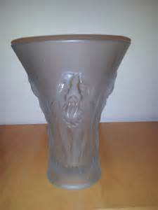 vintage barolac weil czechoslovakia frosted glass vase