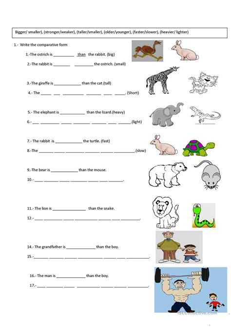 esl le comparative worksheets wiildcreative