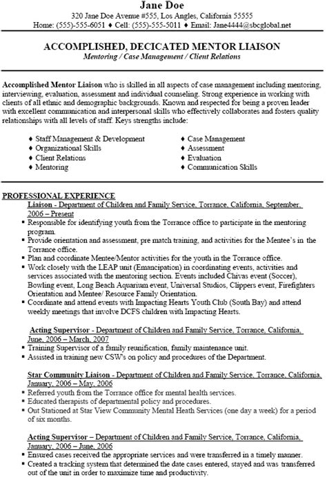 Resume Career Objective Social Worker Mentoring Social Work Resume Objectives Professional Experience Supervisor
