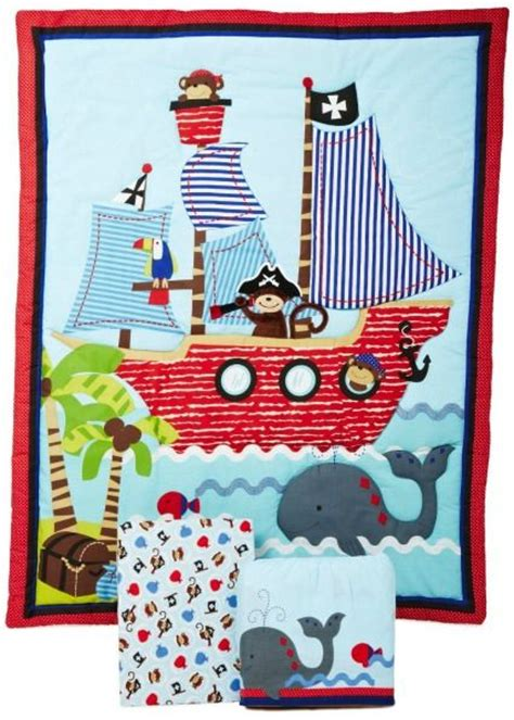 Pirate Toddler Bedding Set From The Treasure Quest Range At Children S Rooms Baby Treasure Island Themed Nursery Decor Adorable Monkey Pirate And A Friendly Whale Make This Set