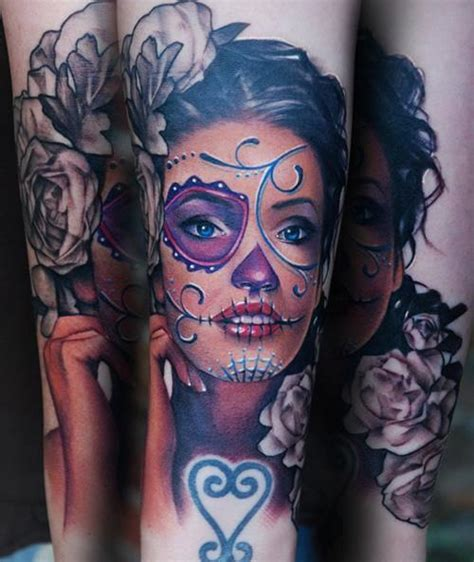 sugar skull woman tattoo rad tats sugar skull
