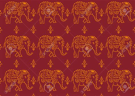 yellow indian pattern background seamless red and yellow indian elephant wallpaper royalty