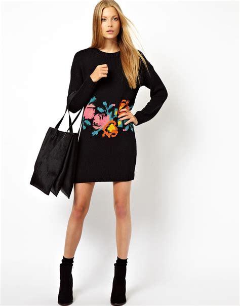 Sweater Jumper Jaket Nk Black lyst asos knitted sweater dress in floral in black