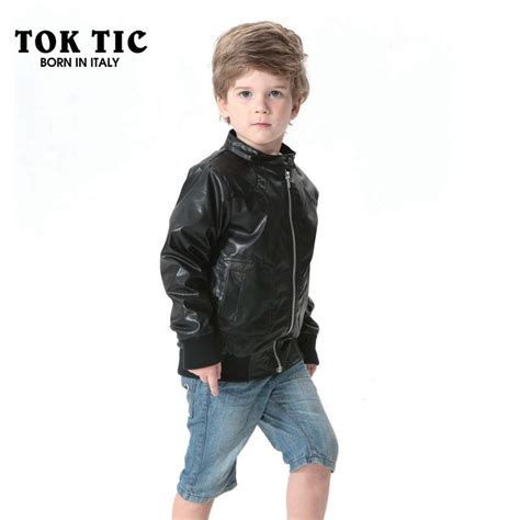 Printed Boy tok tic brand leather jacket boy faux leather coat kid letter printed with zip boy fashion