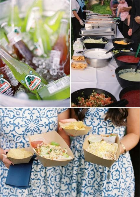 food ideas for backyard wedding blue and white backyard wedding taco bar wedding foods