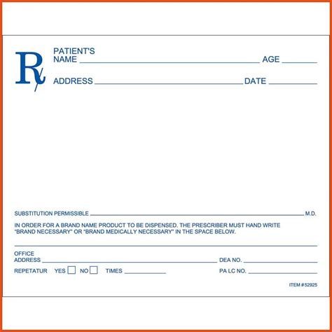 Prescription Pad Template by Rx Pad Template Virtren