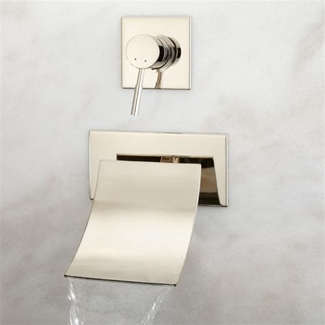 wall bathtub faucets reston wall mount waterfall tub faucet bathroom