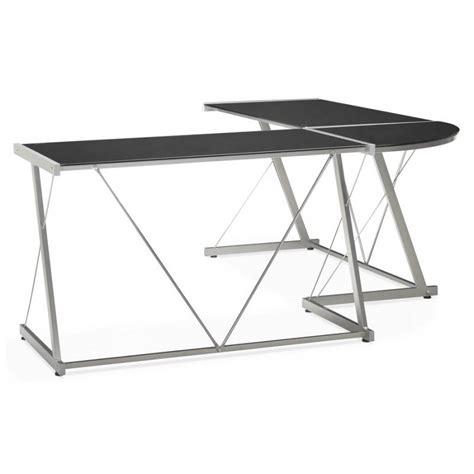 bureau design verre metal bureau d angle design rovigo en verre tremp 233 et m 233 tal noir