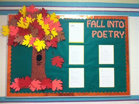 Quot Fall Into Poetry Quot Is A Nice Idea For An Autumn Bulletin Board Display I Would Have My Students Fall Into A Book Template
