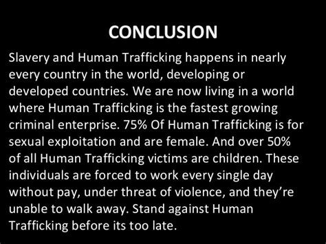Trafficking Essay Conclusion by Human Trafficking