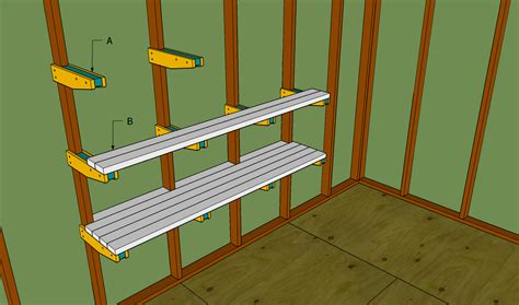 custom diy wood wall mounted garage storage shelves plans