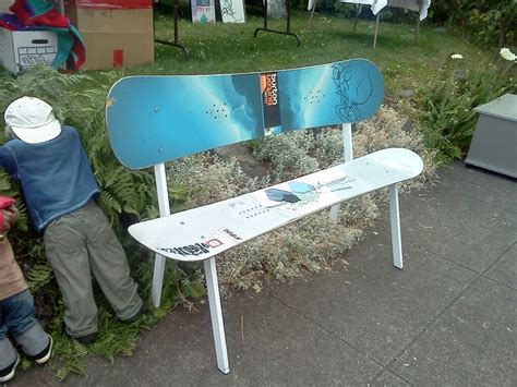 snowboard bench frame snowboard bench with steel frame found art pinterest
