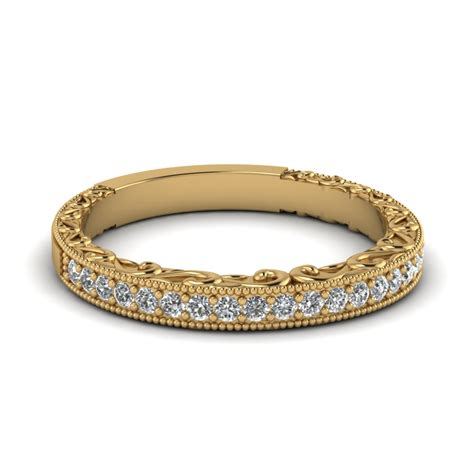 Wedding Bands Yellow Gold With Diamonds by Milgrain Engraved Wedding Band In 18k Yellow