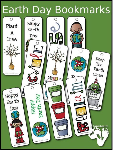 printable preschool bookmarks earth day themed bookmarks 12 different bookmarks for