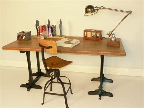 bureau chene treteaux ancien