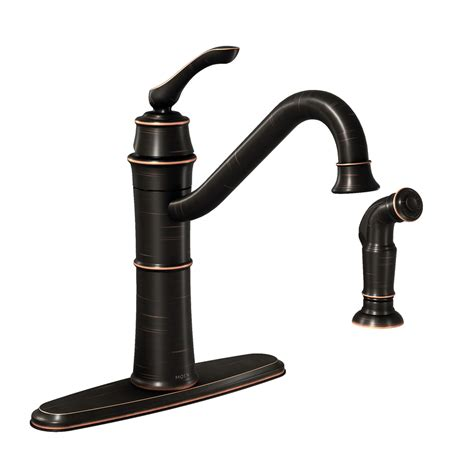 moen high arc kitchen faucet shop moen wetherly mediterranean bronze 1 handle deck