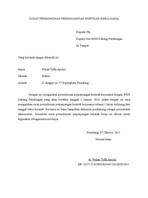 surat permohonan perpanjangan kontrak kerja sama