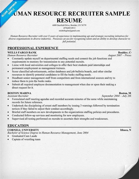 recruiter resume template human resource recruiter resume a fave