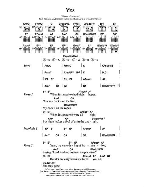 coldplay yes lyrics yes sheet music by coldplay lyrics chords 42481