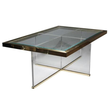 Lucite Table L by Lucite And Brass Coffee Table Style Of Charles Hollis