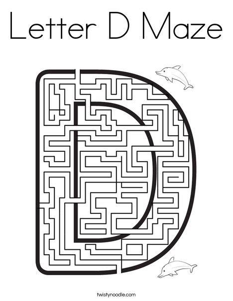 printable maze letter d letter d maze coloring page twisty noodle