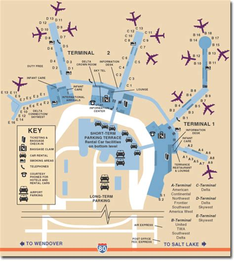 slc airport map salt lake city international airport utah travel pal international