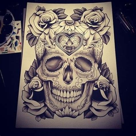 candy skull and roses tattoo sugar skull skulls and thigh on