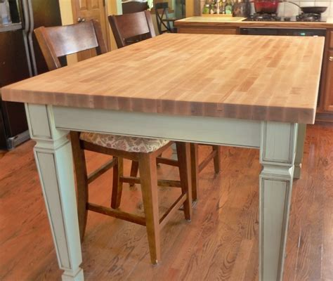 made butcher block kitchen table by custom
