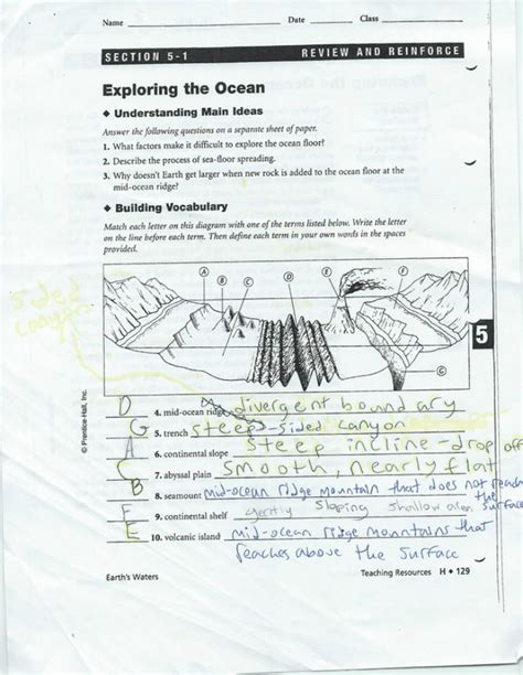 Mapping The Floor Worksheet by Unit 4 The Sea Floor Allan Grant Marine Biology