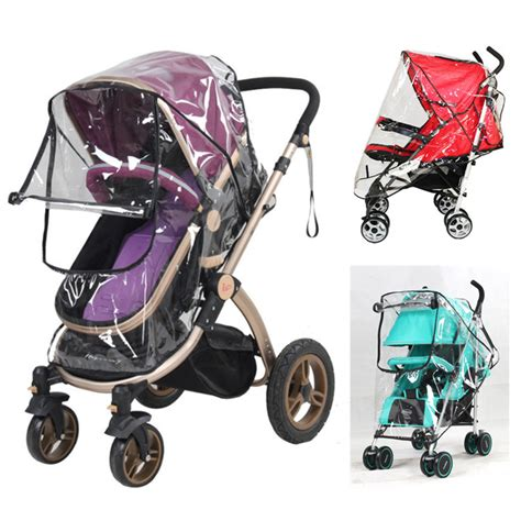 Alas Stroller Baby 1 baby stroller cover pvc universal wind dust shield with windows for strollers pushchairs
