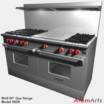 Oven Gas 60 X 40 3d model 60 inch dual gas range