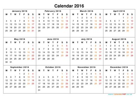 12 Month Calendar 2016 Month To Month 2016 Calendar Calendar Template 2018