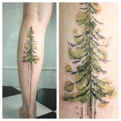 watercolor tattoo tree watercolor style pine tree on the left calf
