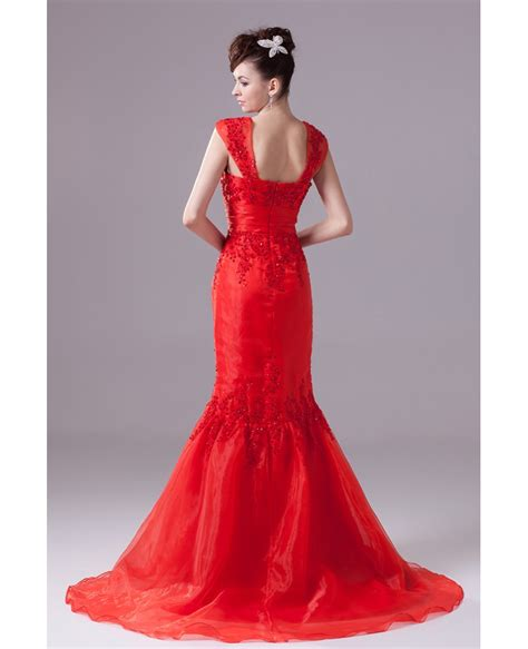 Cap Strap Mermaid Style Beaded Lace Organza Wedding Dress in Red Color #OP4314 $197.9   GemGrace.com
