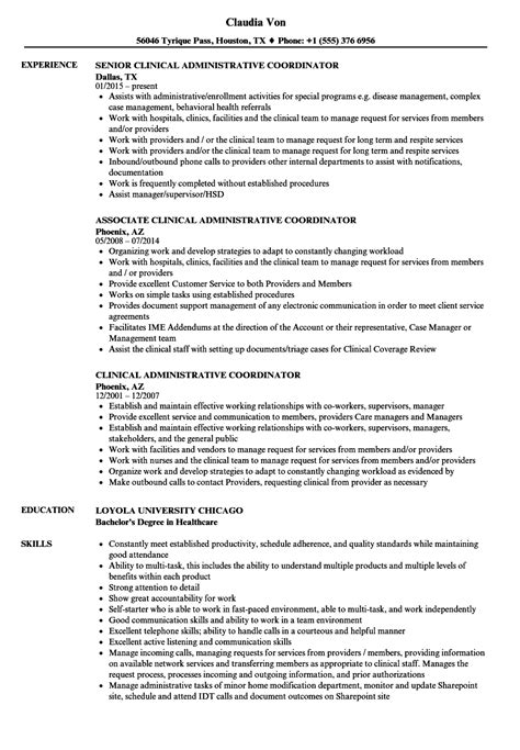 administrative coordinator resume sle clinical administrative coordinator resume sles