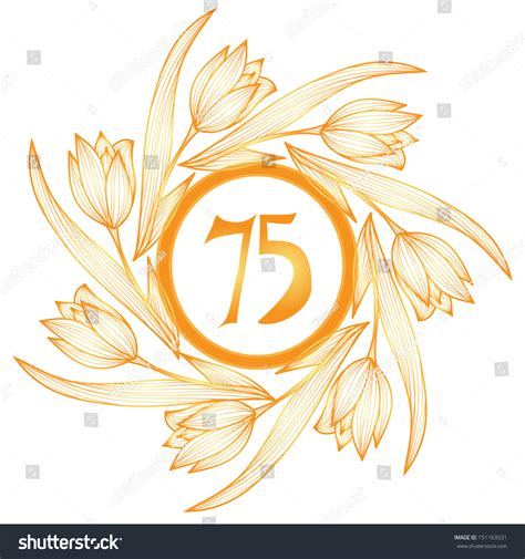 75th wedding anniversary symbol 75th anniversary golden floral banner stock illustration