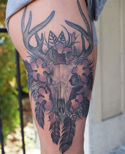 skull thigh tattoo 20 cool deer skull tattoos you ll adore