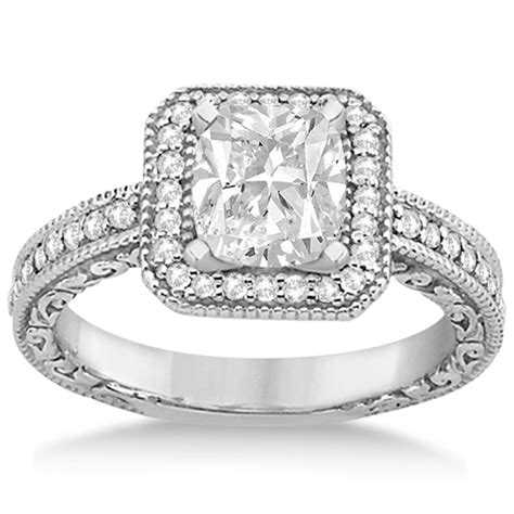 square halo wedding band engagement ring 14kt white gold