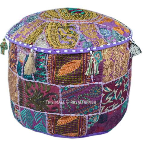 Purple Round Patchwork Embroidered Indian Ottoman Seating