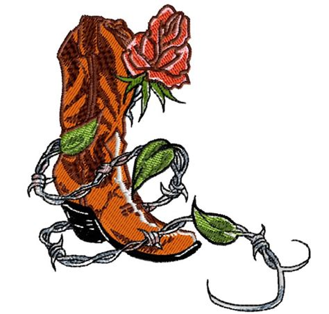 plants embroidery design cowboy boot with rose from king
